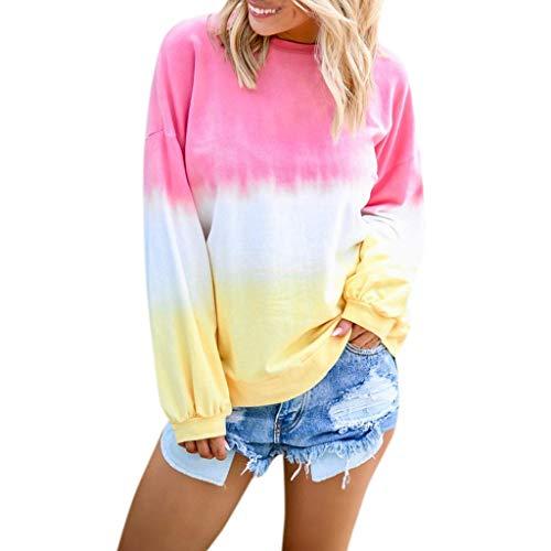rt Lässig O-Ausschnitt Farbverlauf Kontrastfarbe Langarm Top Pullover Sweatshirt(Rosa,M) ()