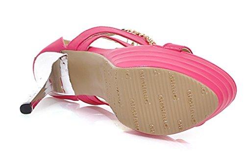 YE Damen Offene Peep Toe High Heels Plateau Stiletto Party Leder Kristall Pumps Mit Strass Sommer Sandalen Schuhe Rosa