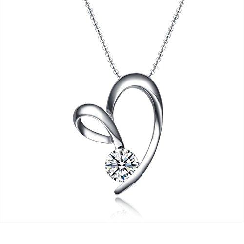 STAR Harvest Argento 925Zirconia Cubica Forever Lover Collana con ciondolo a forma di cuore per le donne San Valentino regalo 18pollici