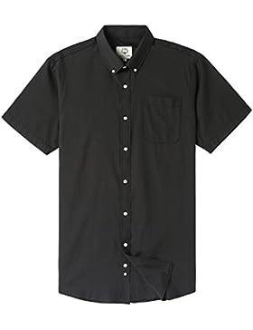 Camicia Classica Manica Corta Tinta Tunita con Tasca da Uomo, M Nero