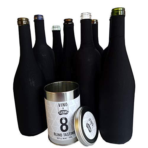 Set formado por 8 fundas negras para cata a ciegas para vino, cava y champagne de 75cl. Bote metálico *No incluye botellas de vino.