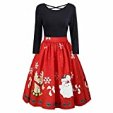 sunshineBoby Damen Vintage Rockabilly Kleid Faltenrock Mode Langarm Plus Größe Weihnachten Print Criss Cross Party Kleid Kleid Petticoat Faltenrock Rockabilly Kleid Cocktailkleider (Schwarz, 2XL)