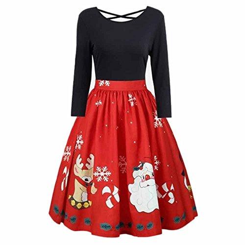 Deloito Damen Mode Langarm Plus Größe Spitzennähte unregelmäßig großes Weihnachtskleid Drucken Criss Cross Partykleid (Schwarz,XXXXX-Large) -