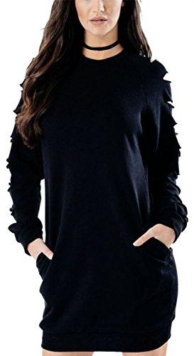 Vanilla Inc - Sweat-shirt - Manches Longues - Femme rouge * taille unique Noir