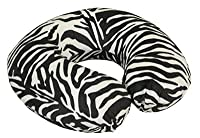 MP Essentials Animal Pattern Super Velour Luxury Memory Foam Comfort Neck Support Cushion (Travelling, Car, Plane, TV, Reading) (Blue) (Black/White Zebra)