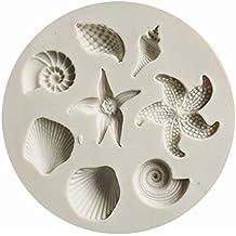 AAC Marine Life - Molde de silicona para fondant, diseño de concha de estrella de