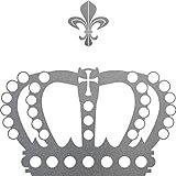 Perlen Krone mit Lilie 38cm silber Aufkleber Tattoo König Deko Folie Auto Möbel Fenster Tür