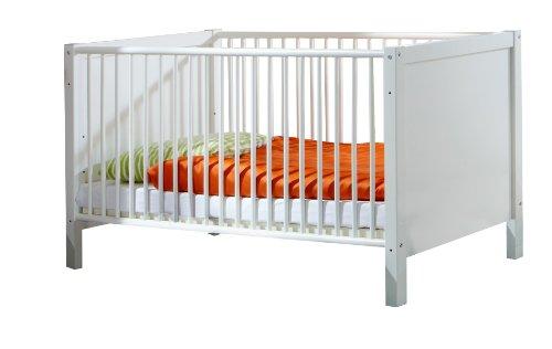 Wimex 318224 Babybett Filou, 70 x 140 cm mit Schlupfsprossen, Aufstellmaß 74 x 77 x 150 cm, Bettstollen MDF, alpinweiß