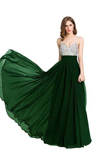 Beauty-Emily Frauen V-Ausschnitt, Strass Chiffon Lange Abendkleider Abendkleider formelle Kleidung Grün