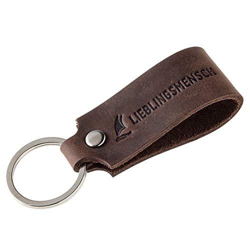 Wind Passion Schlüsselanhänger Leder mit Gravur Lieblingsmensch, Braun Schlüsselband Geschenk für Frauen Männer Handgefertigt in EU