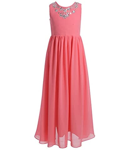 FAIRY COUPLE Girl's Spaghetti Strap Puffy Ruffled Long Flower Girl Dress K0149 10 Coral