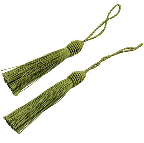 loss Lesezeichen Quasten mit 2 Zoll Kabel Schleife und Kleinen Chinesischen Knoten für Schmuckherstellung, Souvenir, Lesezeichen, DIY Handwerk Zubehör (Armeegrün) ()