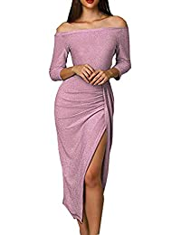 Damen Schulterfrei Midi Kleid Glänzend Kleider Elegant Cocktailkleid 3 4  Arm Ballkleid Hoch Geschnitten Partykleid 231f6a652f