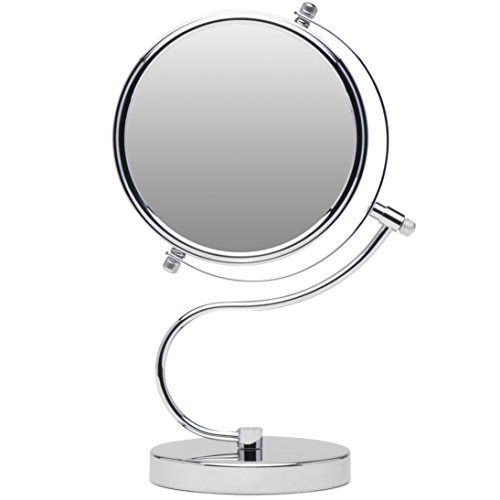 Cute N Curvy Double-Sided Makeup Mirror w/1x 10x Magnification for Vanity Countertop by Mirrorvana, 6-Inch …