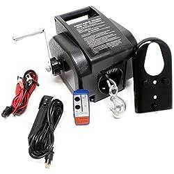 WilTec Treuil électrique 12 Volts Traction Jusqu'à 2267Kg Treuil à câble Télecommande Outil Bateau Remorque