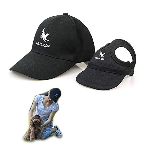 2er Set - 1x Hund Kappe Baseballmütze für Hunde Hut Mütze Hundehut Sonnenhut mit Ohrlöcher + 1x Unisex Baseballkappe für Herren Damen (S für Hunde + One Size für Mensch, Schwarz)