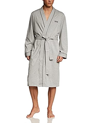 BOSS Hugo Boss Herren Bademantel Kimono, Einfarbig, Gr. Large, Grau (Medium Grey 33)