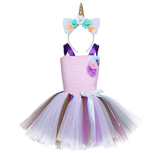 iEFiEL Einhorn Prinzessin Kostüm für Kinder - komplettes Einhorn Kostüm für Mädchen Kleid mit Einhorn Stirnband Zu Karneval Fasching Cosplay Kostüm Tütü Rosa + Gold Haarreif - Kinder Tutu Kostüme Für