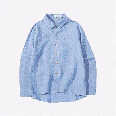 Moda Maschile Camicia _ Solido Riscontro Semplice Libero E Una Camicetta blue