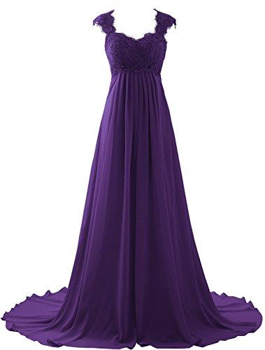 Erosebridal Spitze Lang Ballkeid Formal Abendkleider Lila DE38