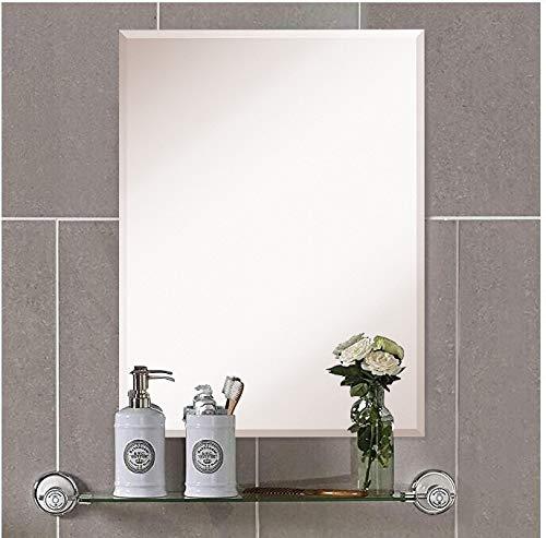 mx.home specchio da parete senza cornice rettangolare con bordi smussati, argento vetro vanità bagno specchio da parete (rettangolo(60 x 90 cm))