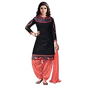Crazy Women's Embroidered Pure Cotton Semi Stitched Patiala Salwar Suits (Black, Free Size)