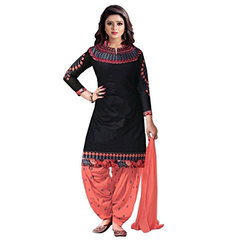 Crazy Women\'s Embroidered Pure Cotton Semi Stitched Patiala Salwar Suits (Black, Free Size)