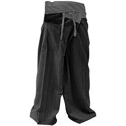 2 TONE Thai Fisherman Pants Yoga Trousers FREE SIZE Plus Size Cotton Gray and Charcoal