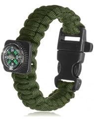 Haute qualité tactique Paracord survie en plein air Bracelet Boucle bande boussole Sifflet - ACU