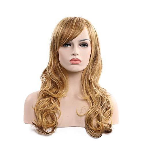 Cvbndfe Hitzebeständig Frauen Long Roll Perücke langes lockiges Haar Chemie Kopfbedeckungen (Hellbraun) Hohe Dichte