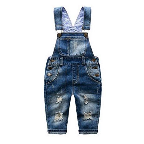 Evedaily Kinder Latzhose loch jeans lange Hose Kinderlatzhose Blau mode