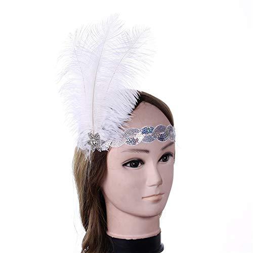 OOFAY 1920er Jahre Pailletten Showgirl Flapper Gatsby Zubehör Kopfschmuck Kopfschmuck Feder Plume Stirnband Weiß Damen Charleston Stirnband Kopfschmuck Haarband