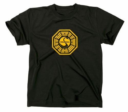 Gildan lost t-shirt station 3the swan logo, dharma iniziativa, serie tv nero black