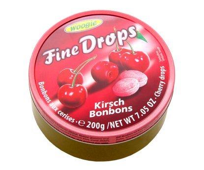 """Woogie Kirsch-Bonbons \""""Fine Drops\"""" in der wiederverschließbaren 200g Dose"""