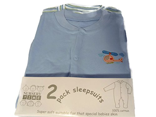 2 Pack Coloured Sky Blue Sleepsuits Motif of a Helicopter 6-9 mths