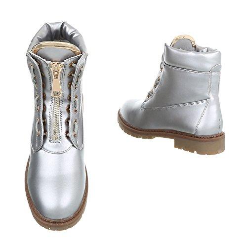 Chaussures femme Bottes et bottines Bloc Bottines a lacet Ital-Design argent A-16-2
