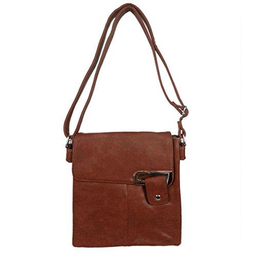 new-ladies-faux-leather-adjustable-strap-multi-pocket-messenger-cross-body-bag-brown