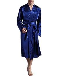 FY Hommes Couple Kimono Japonais Robes de Chambre Tuniques Peignoir de Bain Longue Imitation Satin de Soie Vêtements de Nuit Spa Chambre Hôtel Sauna Partie Fête
