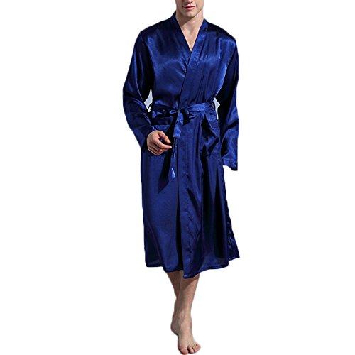 Preisvergleich Produktbild FY Herren Paar Kimono Robe Bademäntel Morgenmäntel Seidenrobe Imitation Seide Dusche Tuniken Dressing Gown Nachtwäsche Saunamantel Wellness Spa Partei Geschenk Blau Größe XL