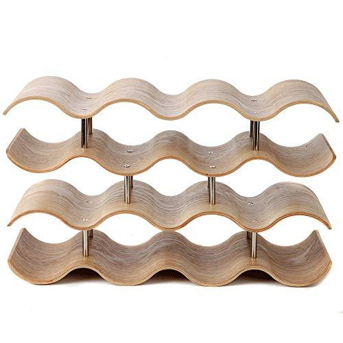 Weinregal 4-Tier Countertop Wave Holz Weinregal Tischplatte Weinlagerung halten 14 Flaschen für Bar Küche Countertops Tischplatte Pantry hält Wein Bier Pop Soda Wasserflaschen Flaschenregal -