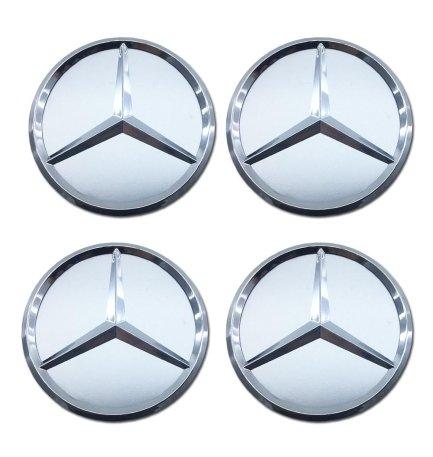 4x-Tappi-Coprimozzo-Logo-Mercedes-da-75mm-Silver-Argento-per-Borchie-Cerchi-Lega