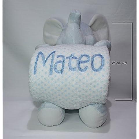 PRIMERAEDAD/Peluche elefante más manta personalizada con nombre bebé/color celeste/