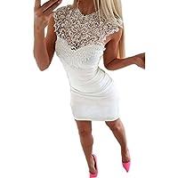 Kleid Damen,Binggong Frauen Sleeveless Spitze Splice Bodycon Casual Party Cocktail Minikleid Kleid Mit Spitze Weißes Kleid Elegante Kleider Strickkleid