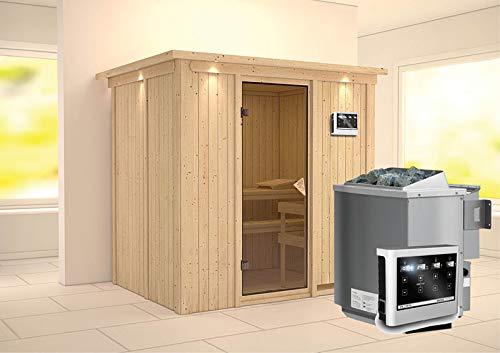 Bodin – Karibu Sauna inkl. 9-kW-Bioofen – mit Dachkranz –