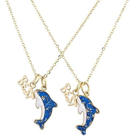 LUX Zubehör Gold Ton Blau Glitzer Delfin Best Buds BFF Halskette Set (2)