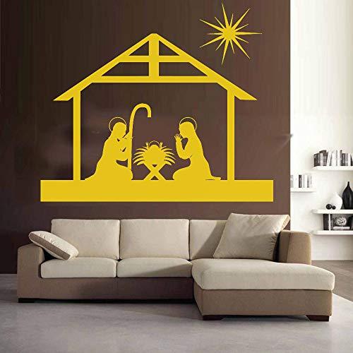 caowenhao Wandaufkleber religiöse christliche Weihnachten Kunstwand Vinyl Aufkleber Wohnaccessoires Wohnzimmer Wohnaccessoires gelb 36x42cm