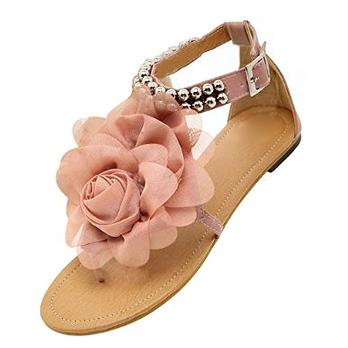 Price comparison product image SODIAL(R) Gladiator Sandals for Women Female Beaded Flower Flat Summer Flip-flop Flats Women's Shoes Bohemia Sandals pink size 8