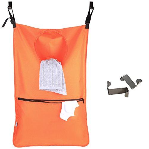 Luxja Hänge Wäschebeutel, wäschesack tür, Reisenthel Wäschesammler mit 2 EXTRA Edelstahl Türhaken, Wäschekorb Tasche, Orange