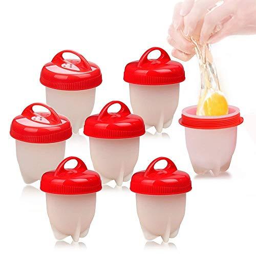 Love77 cuociuova, 7 pcs cuoci uova sode senza guscio, silicone uovo fornello in camicia antiaderente casa e cucina accessori