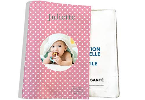 Protège carnet de santé personnalisable pour bébé - photo et texte de votre choix (P2062-photo)
